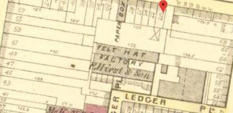 19th Century Map Showing the Location of a felt hat factory owned by P. Hirst and son at Arch Street Excavation Site
